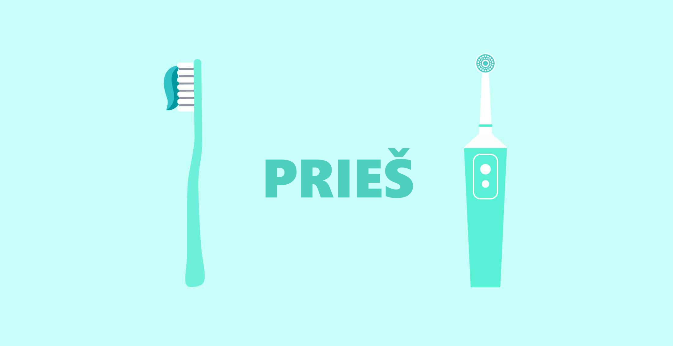 dantų šepetėlis elektrinis ir paprastas